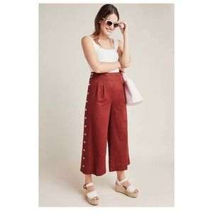 Anthropologie Buttoned Wide Leg Cropped Pants New